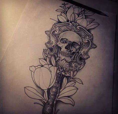 skull flower tattoo tattoos  designs pinterest