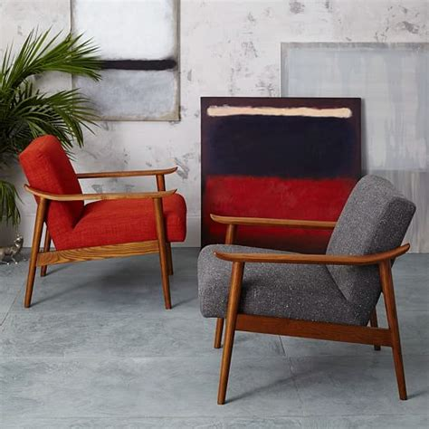 mid century show wood upholstered chair west elm