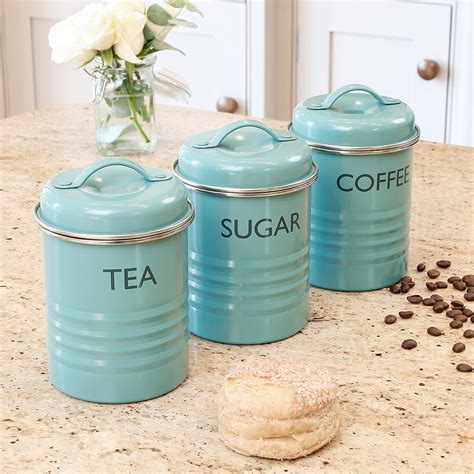 enamel kitchen canisters tea coffee sugar pots kitchen blue metal typhoon rayware