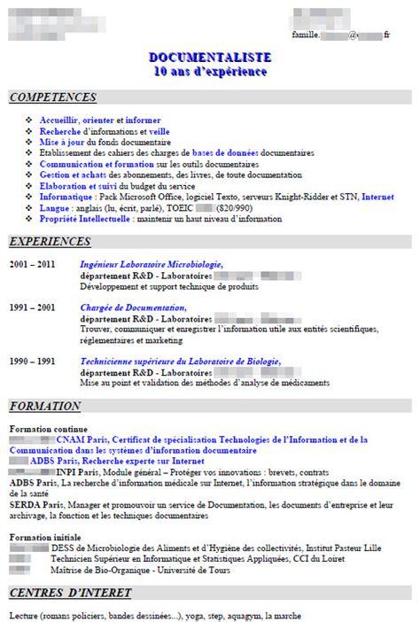 Des Modèles De Cv by Exemple De Cv Gratuit Avec Objectif Professionnel Sle