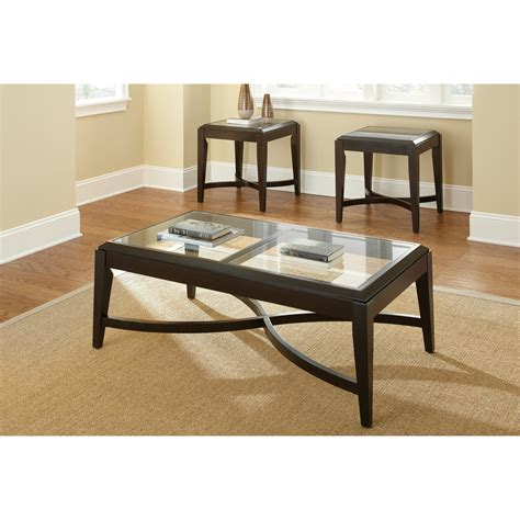 Each piece features a clear glass tabletop trimmed in black with silver slightly arched legs creating futuristic d cor for your home. Steve Silver Furniture Mayfield 3 Piece Coffee Table Set & Reviews | Wayfair.ca