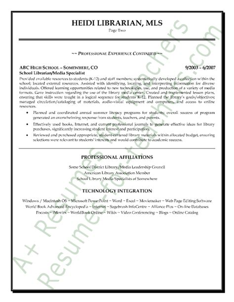 media librarian resume sle page 2