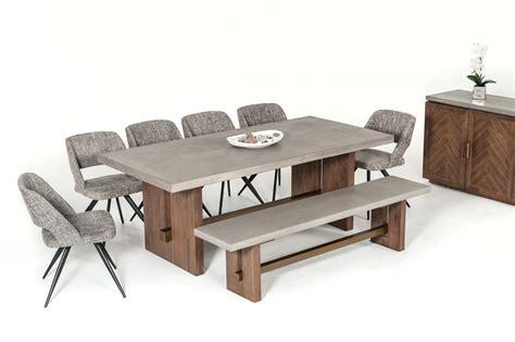 modrest amos modern concrete acacia dining bench