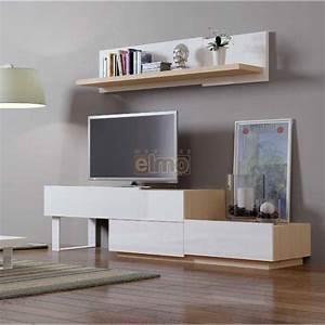Meuble Tv Blanc Laqué : meuble tv design contemporain bois laqu blanc natural ~ Teatrodelosmanantiales.com Idées de Décoration
