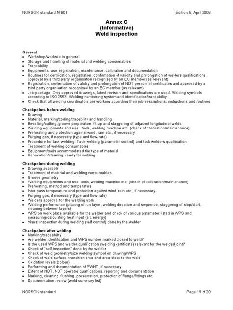 Weld Inspection Norsok Checklist | Welding | Calibration