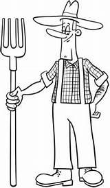 Granjero Colorear Fermier Cartoon Dibujo Boer Dessin Kleurplaat Desenho Fazendeiro Coloring Dibujos Coloriage Premium Pitchfork Contadino Farmer Colorare Animador Kolorowanka sketch template