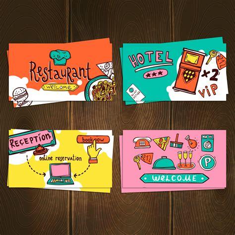 hotel cards set   vectors clipart graphics