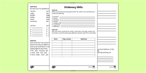 dictionary skills worksheet english resource twinkl