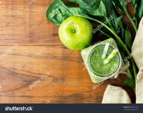 healthy green kitchen apple spinach green smoothie on stock photo 1597