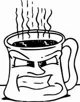 Coloring Coffee Mug Cup Angry Chocolate Printable Getcolorings sketch template