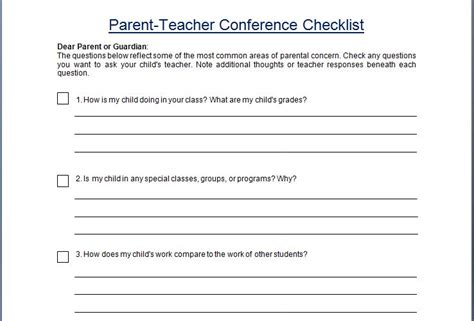 questions to ask at parent teacher conference preschool parent conference concern questionare checklist 982
