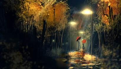Rainy Rain Wallpapers Umbrella Night Days Anime