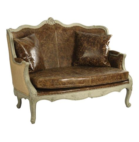 Country Settee by Adele Country Top Grain Leather Burlap Settee Loveseat