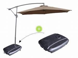 """Parasol déporté en aluminium """"Ilios"""" Rond Ø 3 m Taupe + Pied de parasol lestable 69471"""