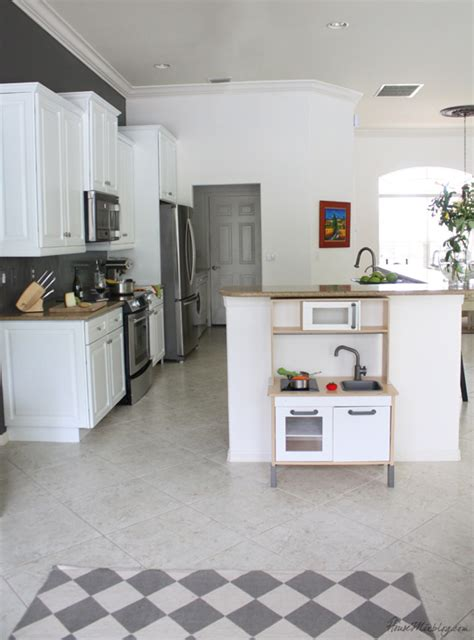 gray  white kitchen  ikea duktig childs play kitchen