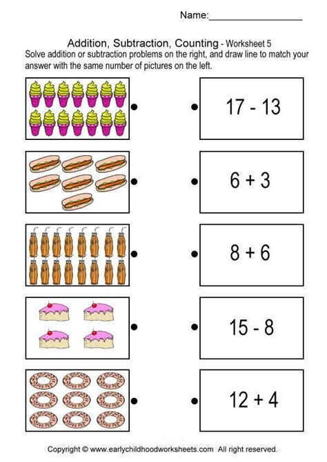 addition subtraction counting worksheet maths