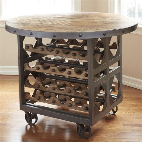 pub table with wine rack industrial wine storage pub table so that s cool