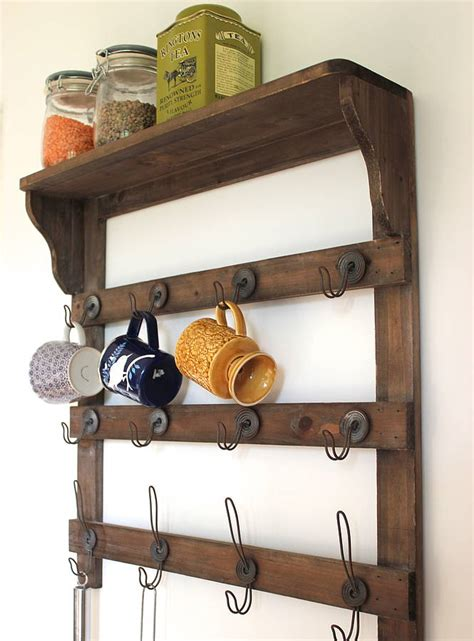 wooden wall shelf  hooks   forest