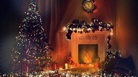 fireplace trees toys clocks lights hd wallpapers