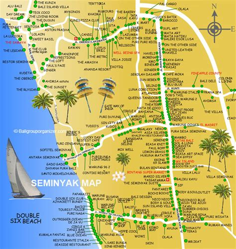seminyak map bali places  stay