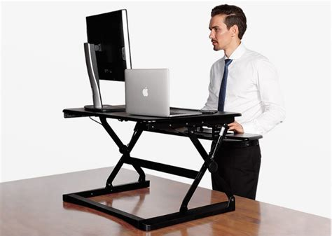 Standing Desk Riser Adjustable by Flexispot 27 Quot Wide Stand Up Desk With Wider Keybaord Tray