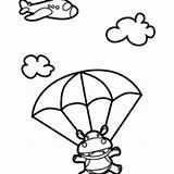 Hippo Coloring Skydiving Pages Netart Getcolorings sketch template