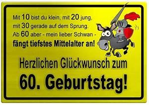 60 Geburtstag Frau Lustig : gelbes schild mit esel und ritter zum 60 geburtstag geburtstagsspr che welt geburtstag ~ Frokenaadalensverden.com Haus und Dekorationen