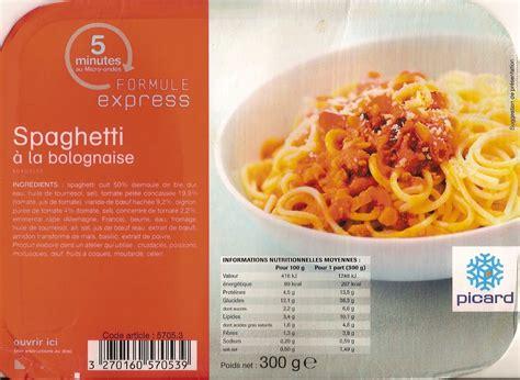 plats cuisin picard spaghetti à la bolognaise surgelés picard 300 g