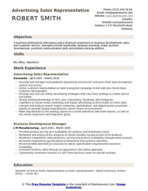 advertising sales representative resume sles qwikresume