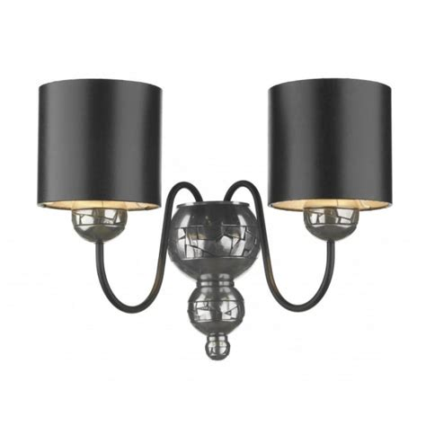 pewter wall light with black silver lined shades