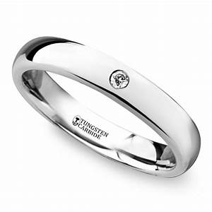 polished inset diamond wedding ring in tungsten With inset wedding rings