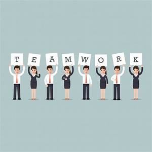 "Business men and women with the word ""teamwork"" Vector ..."