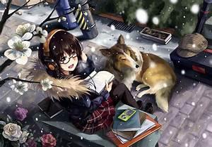 original, characters, , dog, , anime, girls, , headphones, , glasses, , neko, , yanshoujie, , wallpapers, hd