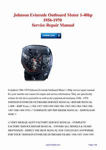 Workshop Manual For Evinrude 1980 40 Hp Outboard