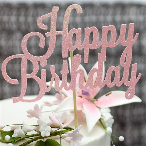 pink glitter happy birthday cake topper