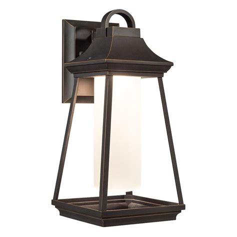 lowes led workshop light shop kichler hartford 15 in h led rubbed bronze outdoor