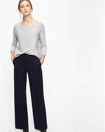 Trousers Pressed Wide Leg Flannel Jigsaw Clothing