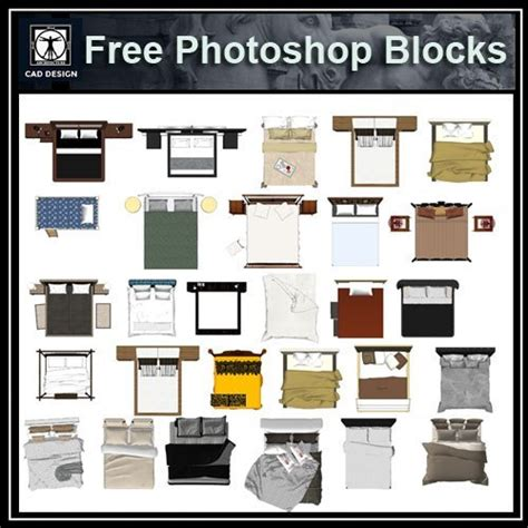 photoshop psd bed blocks   autocad blocks