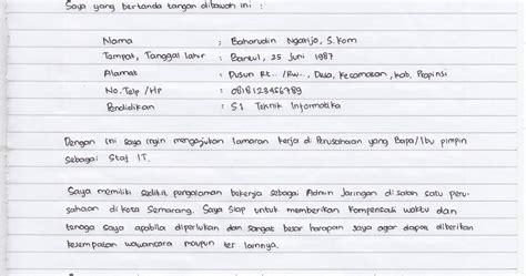 contoh surat izin sakit tulisan tangan sendiri
