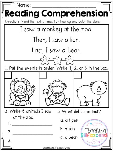 free sequencing reading comprehension for beginning