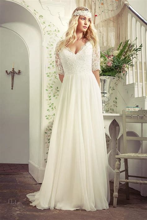 size beach wedding dresses  sleeves  neck sweep