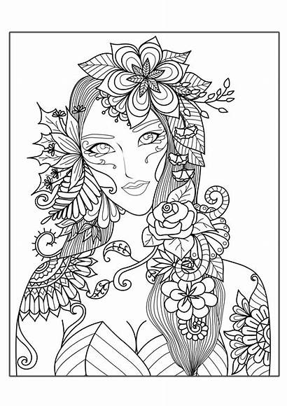 Flowers Coloring Stress Woman Anti Adults Zen