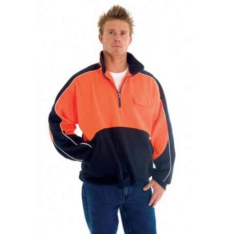 300gsm Polyester Cotton HiVis Two Tone 1/2 Zip Hi-Neck Panel Fle | Workwear Clothing Online (The ...