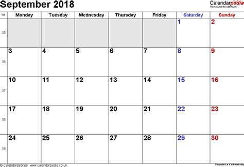 calendar september  uk bank holidays excelpdfword