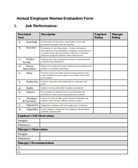 printable employee evaluation forms   ms