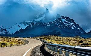 Photography, Nature, Mountains, Snowy, Peak, Road, Sunset, Clouds, Shrubs, Patagonia, Argentina