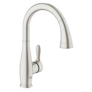 shop grohe parkfield supersteel 1 handle high arc kitchen faucet at lowes com
