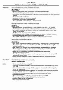 Process Development Scientist Resume Samples