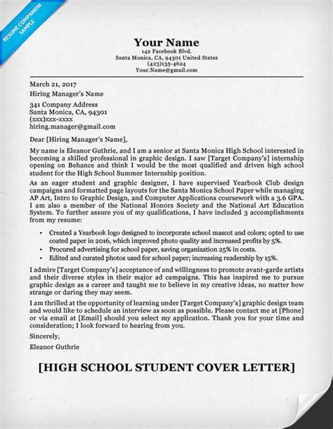 high school student cover letter sample guide