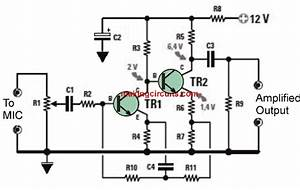 dynamic mic preamplifier circuit With microphone circuit